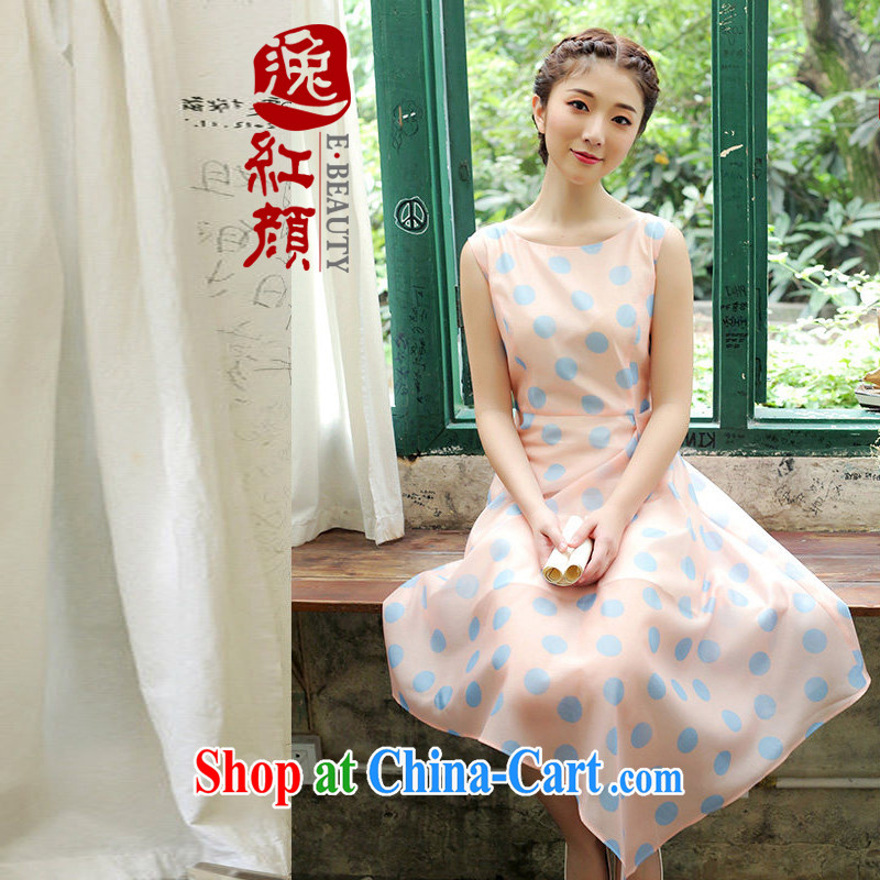 once and for all and fatally jealous autumn 1000 stamp dresses women's clothing China wind summer small fresh the knee long skirt ethnic wind arts pink XL