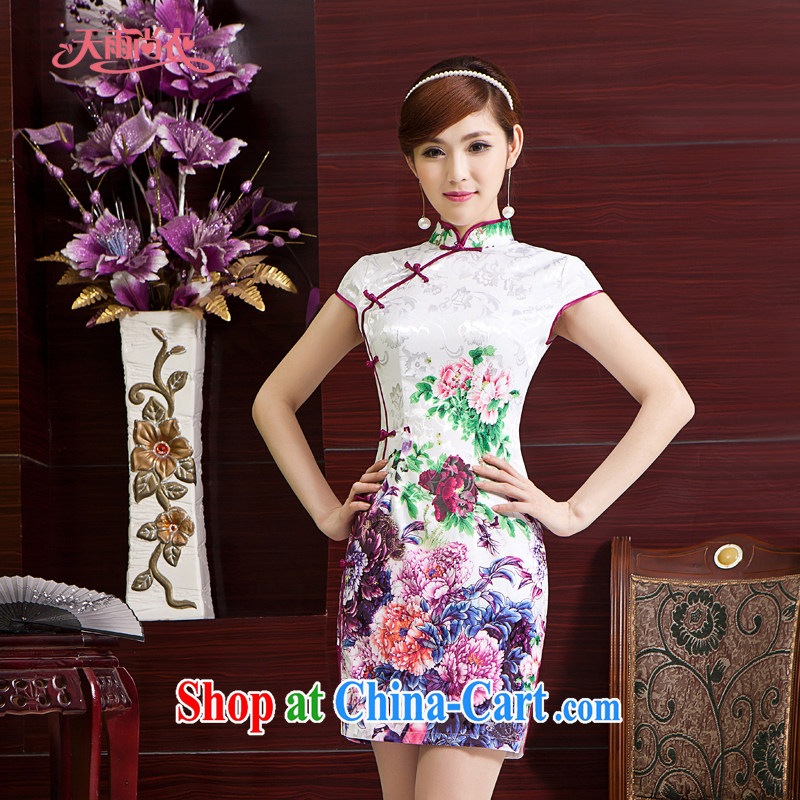 Rain is still Yi marriages toast serving China wind graphics thin dress stylish and refined elegant dinner cultivating short cheongsam QP 7016 photo color XXL