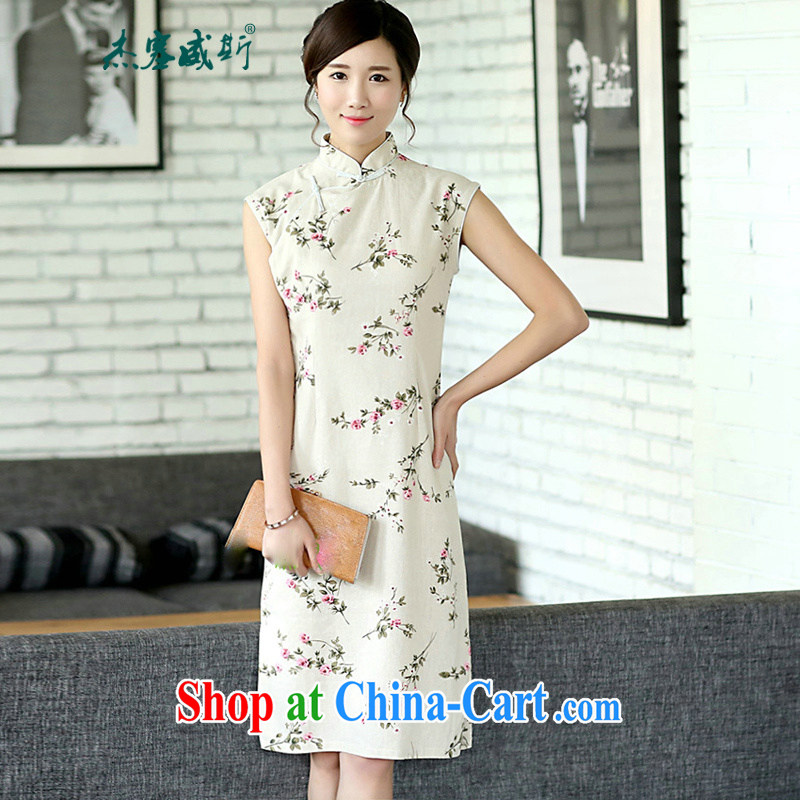 Jessup, new improved Chinese linen arts van summer day floral cotton the cheongsam sleeveless cheongsam dress CQP 362 sleeveless energy XXL