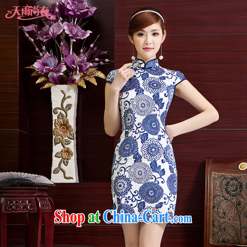 Rain Coat is stylish and improved cheongsam photo building Photo Album blue and white porcelain Ethnic Wind elegant classic short qipao the code daily outfit QP 7019 photo color XXL