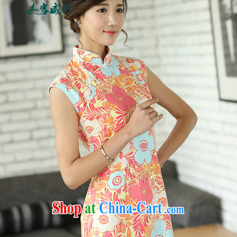 Jessup, new, improved daily Chinese linen arts van summer basket stamp duty the cheongsam sleeveless girl cheongsam dress CQP 557 sleeveless warm spring M