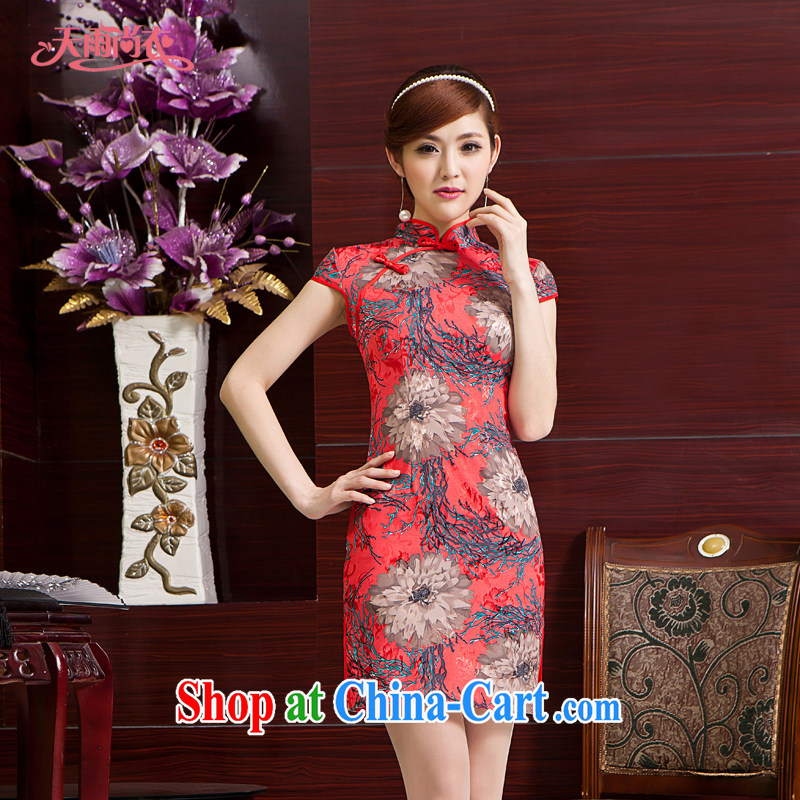 Rain Coat is stylish and improved bridal dresses wedding toast serving traditional beauty dresses short video thin Chinese qipao QP 7024 red XXL