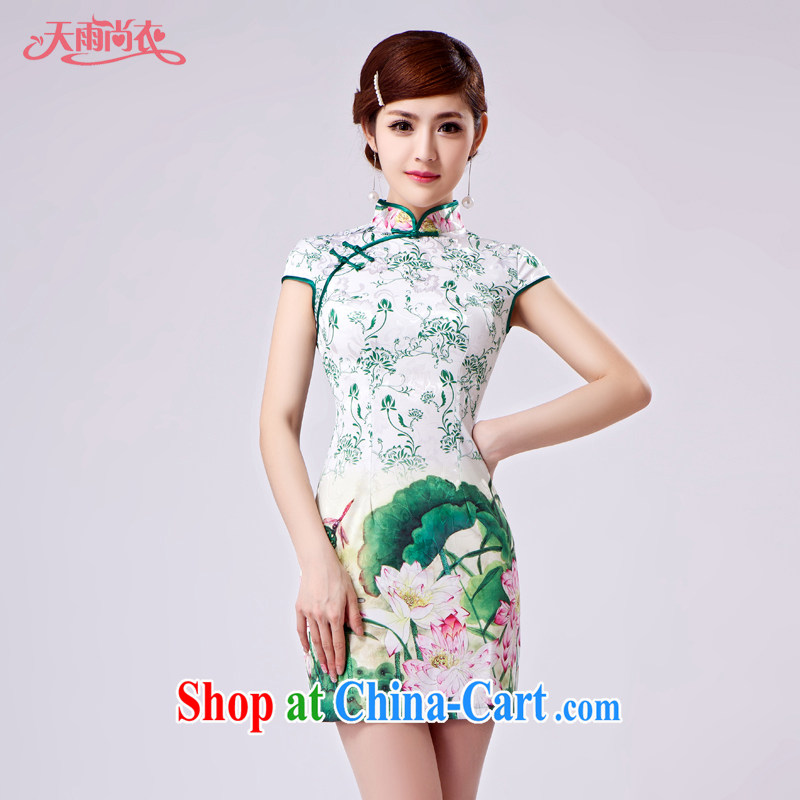 Rain is still Yi improved stylish marriages, short cheongsam Ethnic Wind traditional Chinese high quality photo building Photo Album qipao QP 7027 photo color XXL