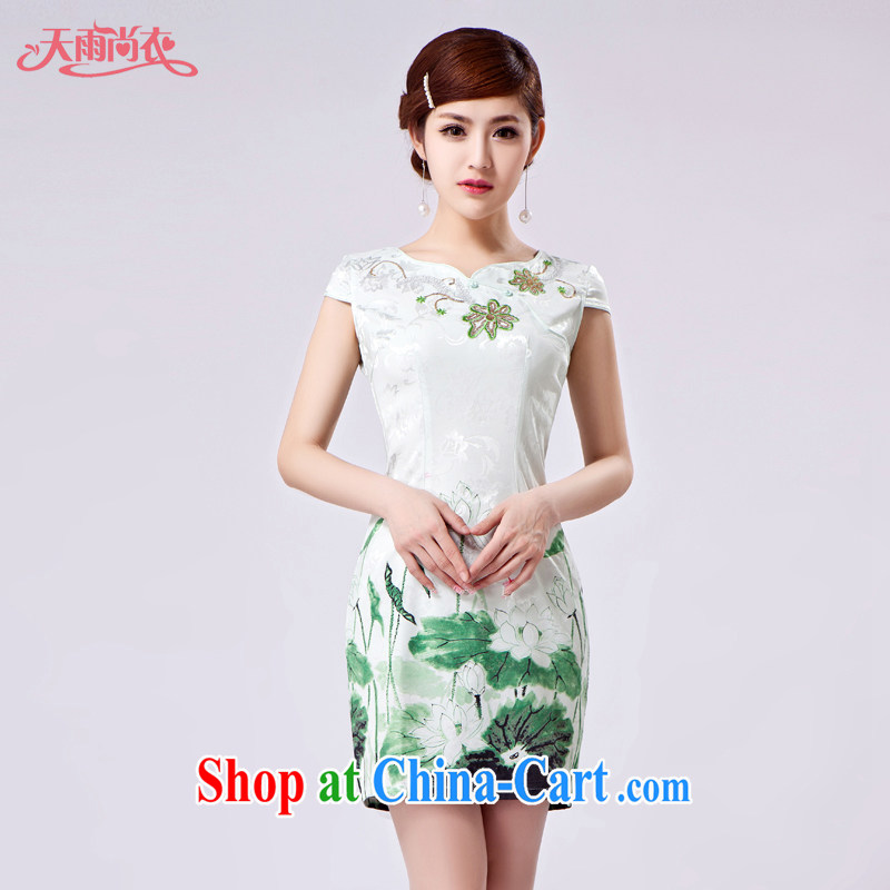 Rain Coat is stylish and improved cheongsam marriages China wind short cheongsam photo building photo embroidered cheongsam QP 7029 photo color XXL