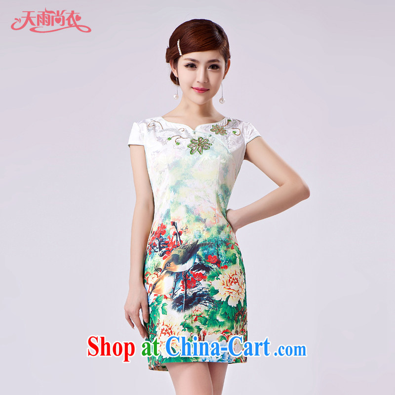 Rain Coat is stylish and improved cheongsam Photo Album summer short elegant beauty, China wind graphics thin daily outfit QP 7031 photo color XXL