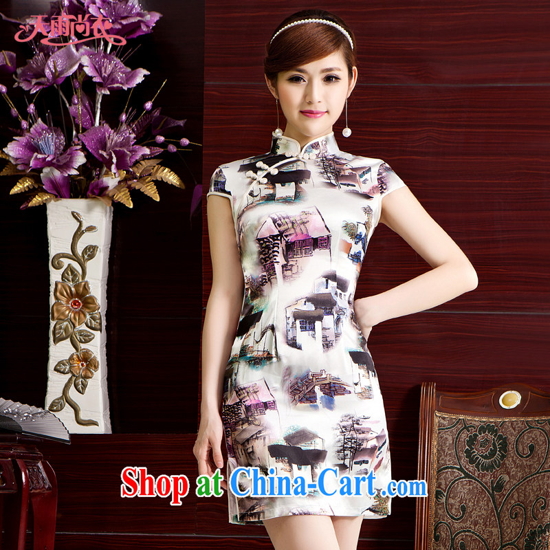 Rain Coat yet stylish China wind traditional bridal dresses traditional cultivating Chinese photo building Photo Album qipao graphics thin daily outfit QP 7038 photo color XXL