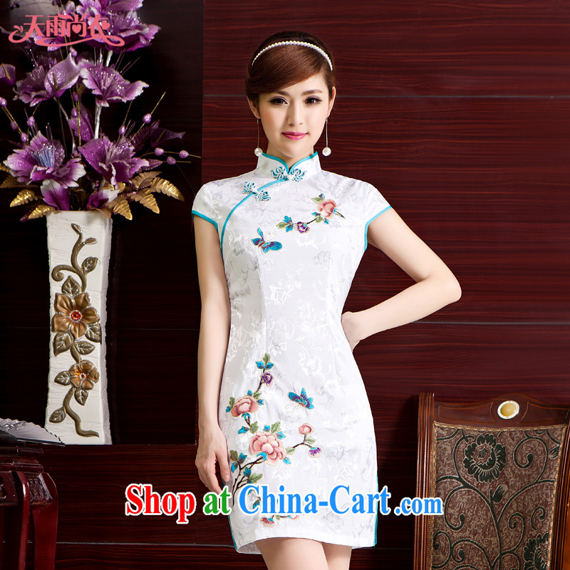 Rain Coat yet stylish bridal dresses improved Chinese Chinese Embroidery cheongsam Chinese wind short cheongsam beauty graphics thin Photo Album qipao QP 7042 white XL