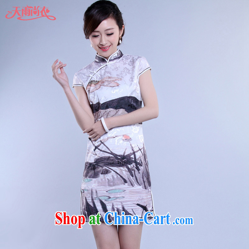 Rain Coat yet stylish Chinese style traditional Chinese qipao Chinese daily larger photo building bridal portrait dresses beauty QP 7046 photo color XXL