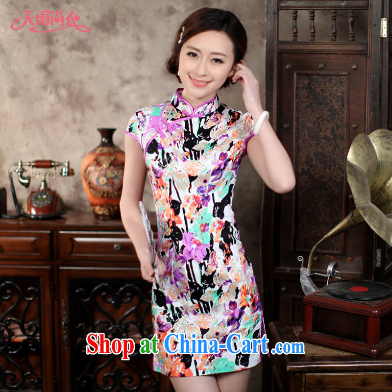 Rain Coat yet stylish short, improvement of traditional Chinese qipao the cheongsam, Chinese daily photo building bridal portrait dresses beauty QP 7047 photo color XXL