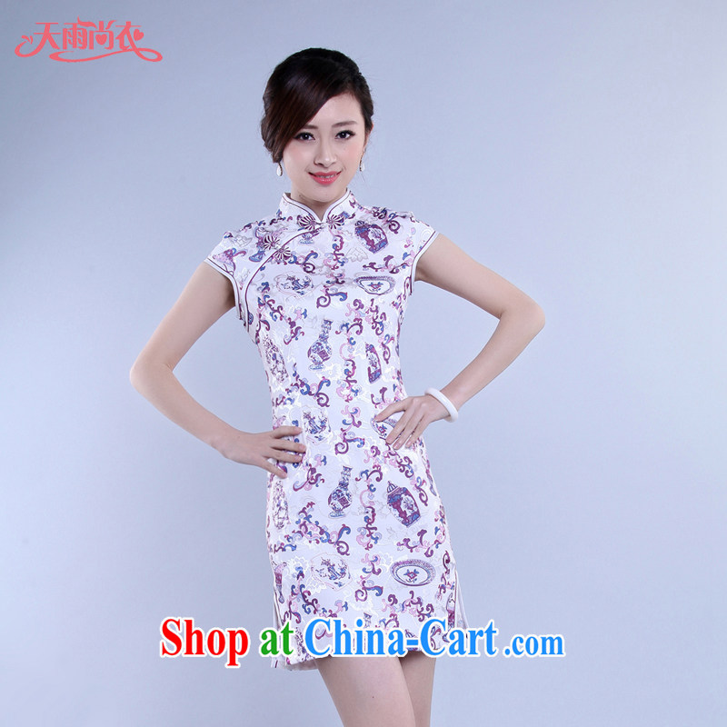 Rain Coat is stylish and improved summer short Chinese qipao, photo building Photo Album qipao the code daily outfit QP 7049 photo color XXL