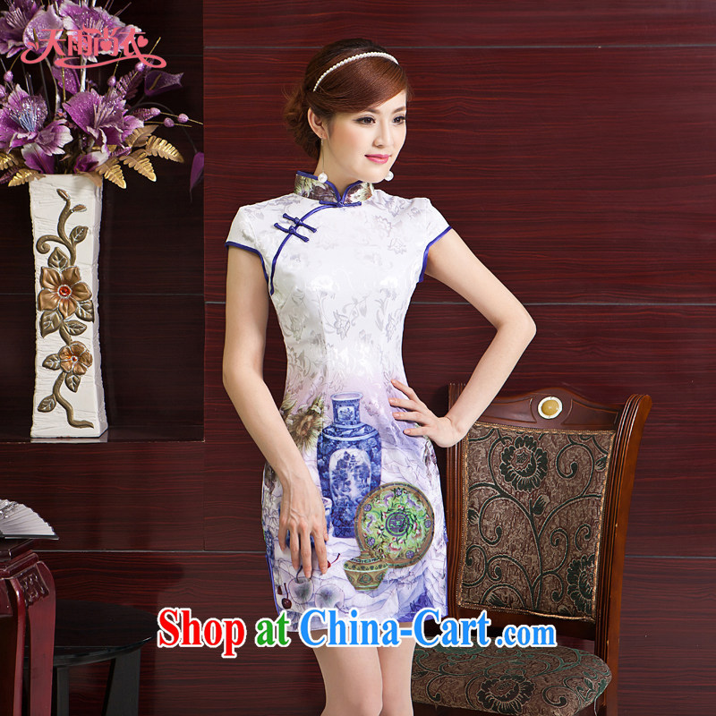 Rain is clothing and stylish bridal China wind traditional MOM dresses beauty Tang with photo building Photo Album qipao graphics thin daily maximum code cheongsam QP 7053 photo color XXL