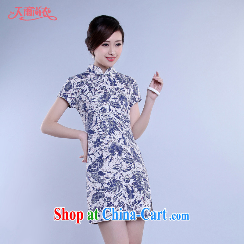 Rain still Yi Chinese qipao stylish improved summer short-sleeve cultivating larger dresses photo building photography Photo Album National wind daily outfit QP 7059 photo color XXL