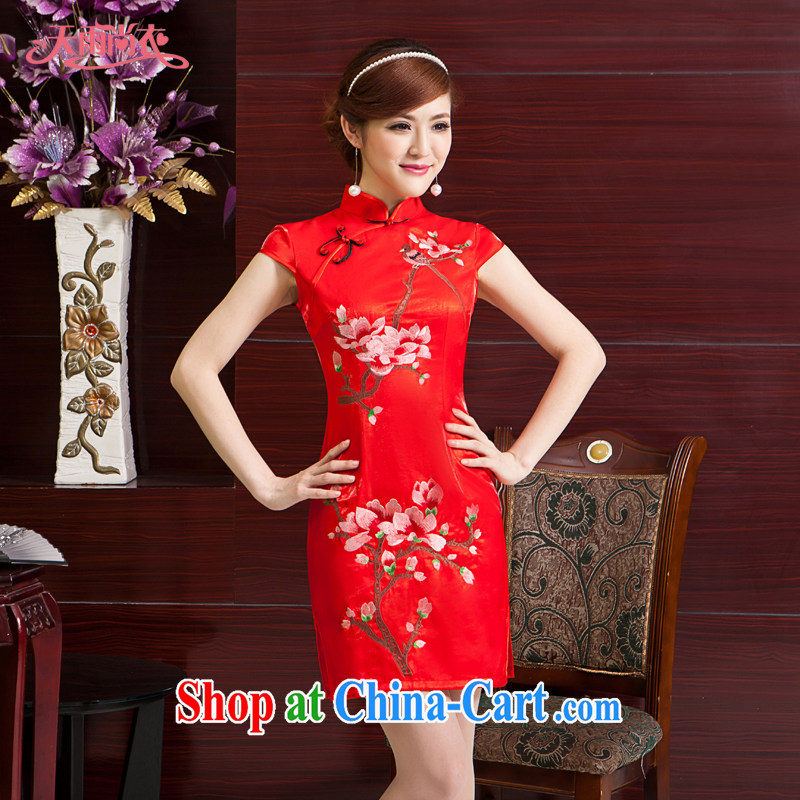 Rain Coat yet stylish Chinese improved cheongsam elegant Chinese style wedding bride toast serving upscale short MOM embroidered Chinese qipao QP 7061 red L