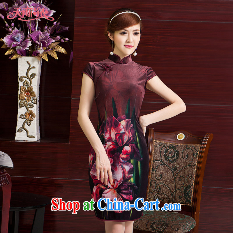 Rain is still clothing and stylish improved bride mother outfit Chinese Ethnic Wind traditional classic short-sleeved qipao upscale Chinese QP 7062 photo color XXL