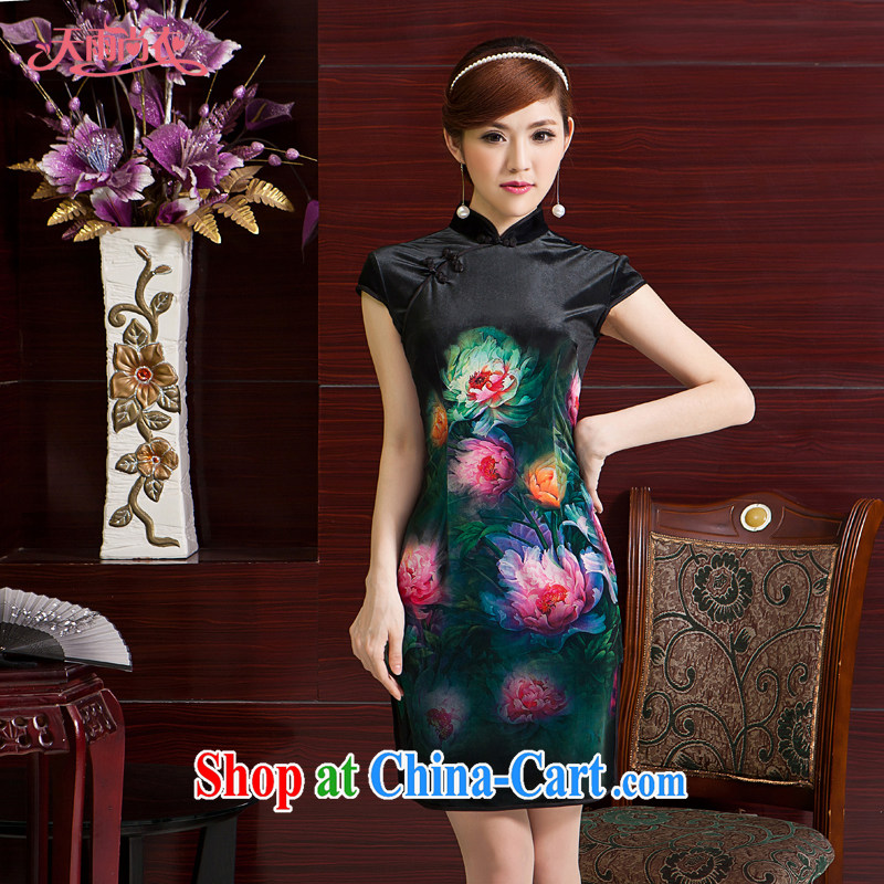 Rain is still clothing and stylish improved bride mother outfit Chinese Ethnic Wind traditional classic short-sleeved dresses larger upscale Chinese QP 7063 black XXL