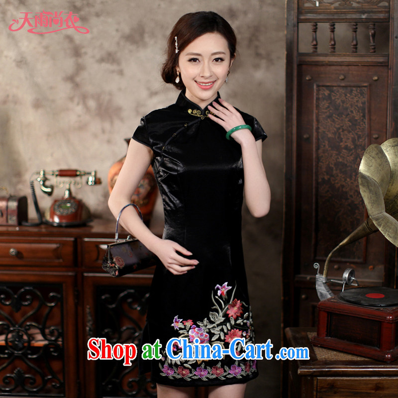 Rain is still Yi improved stylish dresses, older short wedding dresses bride's mother classical Ethnic Wind embroidered Chinese qipao QP 7065 black M