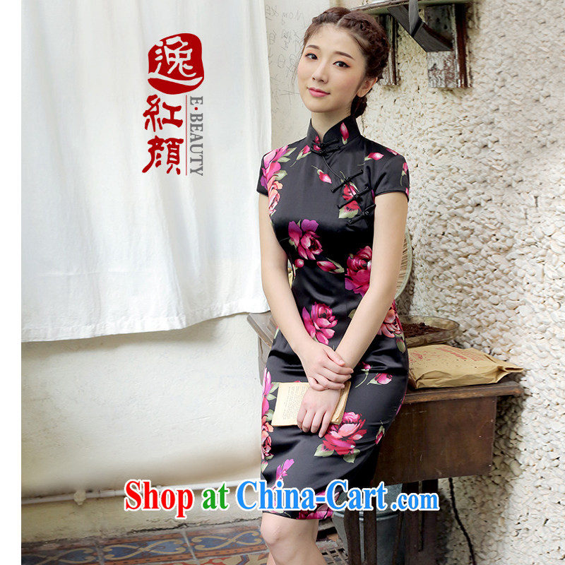 once and for all and fatally jealous flowers from spanish silk upscale retro new dresses summer dresses skirts improved daily stylish black L