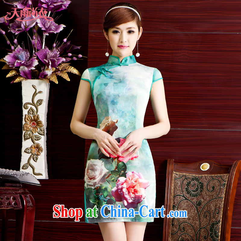 Rain Coat is stylish and improved cheongsam traditional Chinese wedding dress photo building Photo Album short daily dresses Chinese QP 7074 photo color XXL