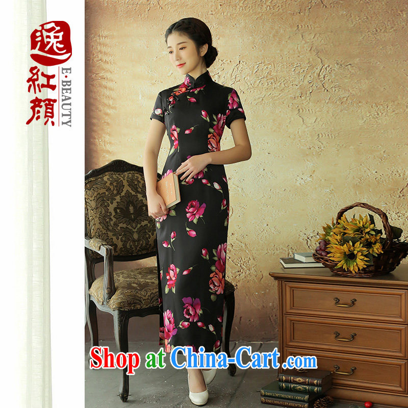 once and for all and fatally jealous flowers from spanish retro long Silk Cheongsam high 2015 summer skirt outfit improved daily stylish black M