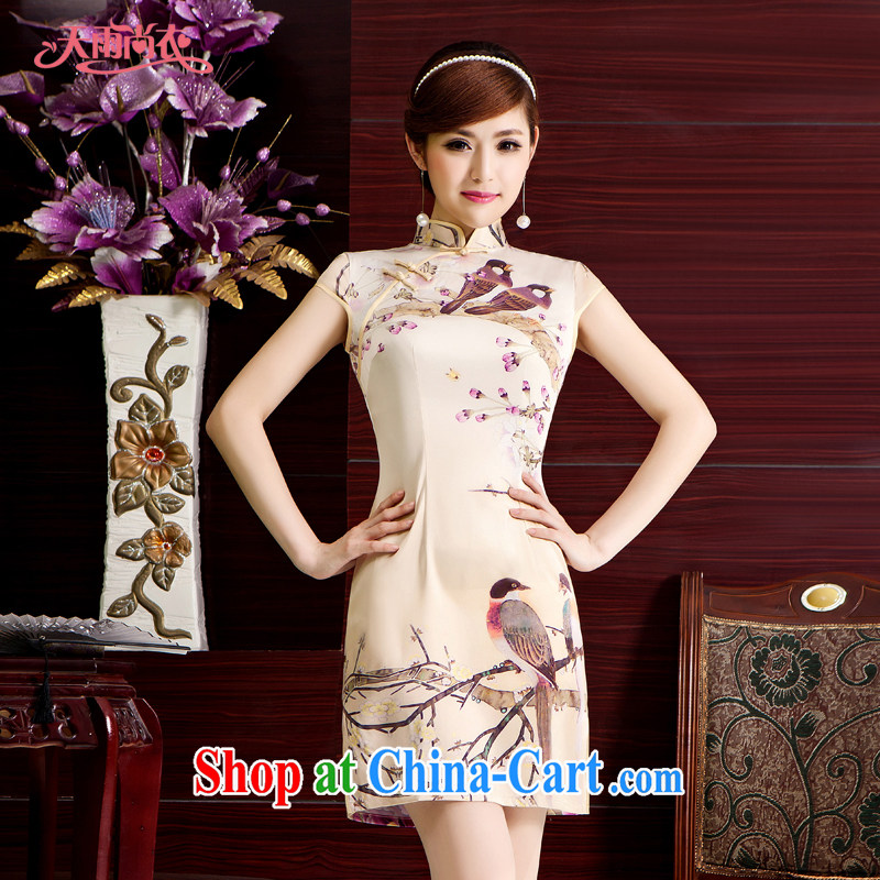 Rain is still Yi Chinese improved cheongsam photo building photo larger stylish ethnic wind dress short daily outfit QP 7079 photo color XXL
