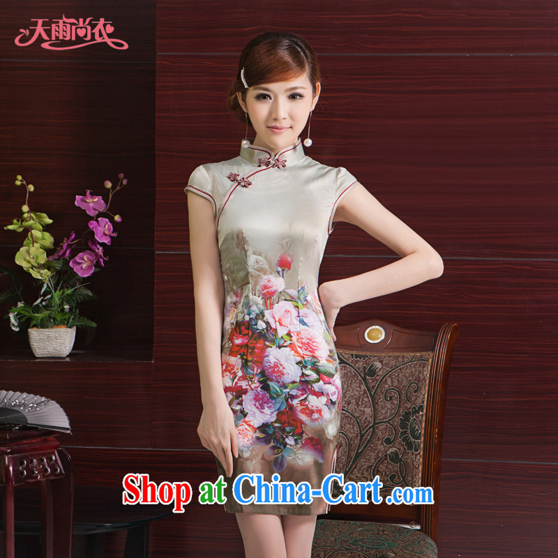 Rain is still clothing and improved stylish and elegant bride mother dress cheongsam beauty short Photo Album daily Chinese qipao dress QP 7070 photo color XXL