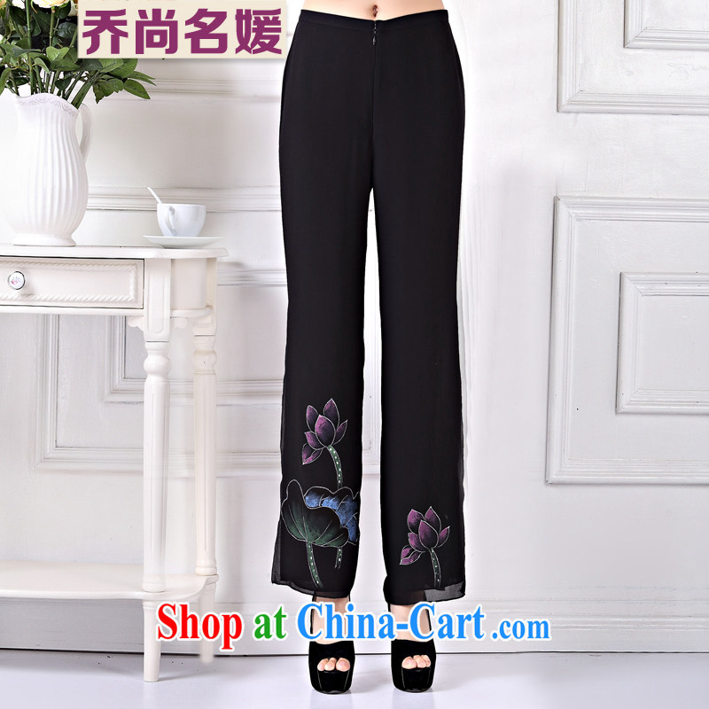 Chinese Tang pants, old fashioned improved China wind hand-painted snow girls woven pants KZ 003 black XXXL _33 yards_