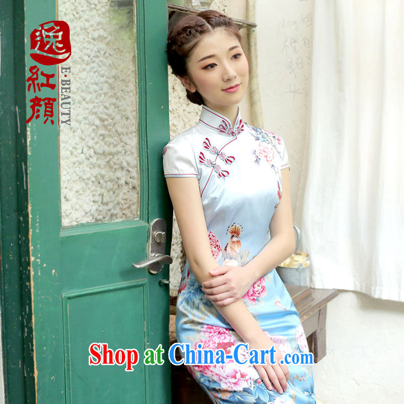 proverbial hero once and for all, a silk upscale retro long cheongsam 2014 summer skirt outfit improved daily fashion fancy S - pre-sale 30 days