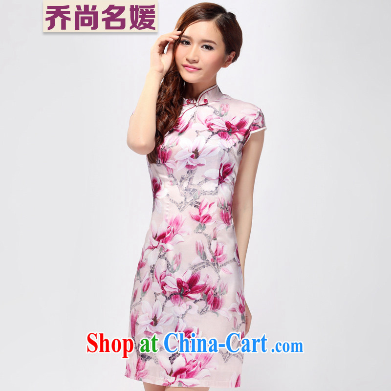 Silk Cheongsam dress summer improved standard wedding retro short sleeved ZS 007 red L