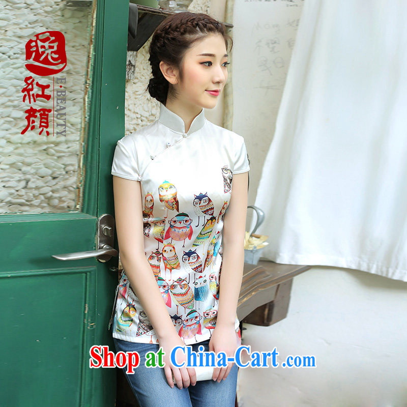 proverbial hero once and for all and sweet, Silk Cheongsam shirt improved summer China wind Chinese Tang Women's clothes ethnic wind arts white XL