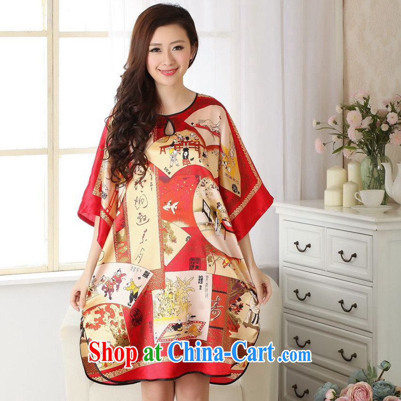 Take the new summer fashion female round-collar retro figures damask Chinese Robes Tang with bathrobe red are code