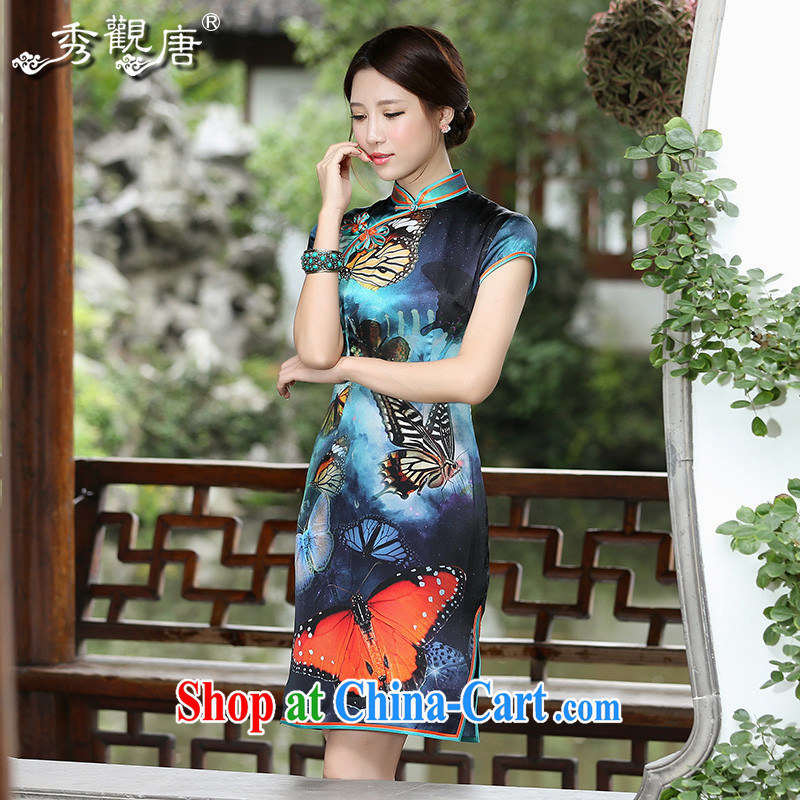 The CYD HO Kwun Tong' flower butterfly 2014 summer new stylish Silk Cheongsam digital stamp retro the forklift truck QD4520 fancy XXL