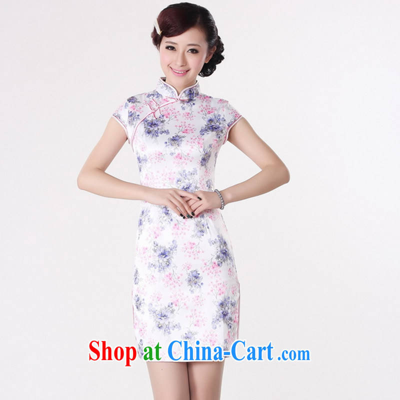Take the new stylish summer Women's clothes cheongsam Chinese Chinese improved, for a tight cotton short-sleeved hand-painted short cheongsam white 2XL