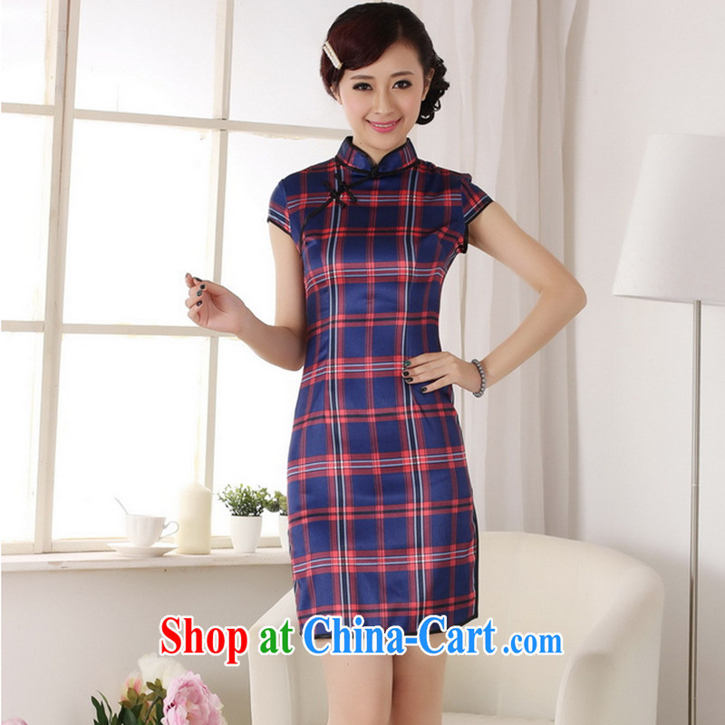 Take the 2014 new summer fashion clothes dresses up for a tight beauty retro cotton Plaid Short cheongsam red 2 XL