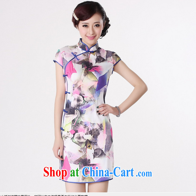 Take the 2014 new, replacing traditional costumes summer female Chinese improved, for the hard-pressed damask hand-painted short cheongsam, Chinese white M