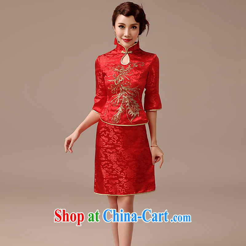 dirty man marriages bows short dresses 2015 new retro improved embroidery 7 cuff red cheongsam red XXL