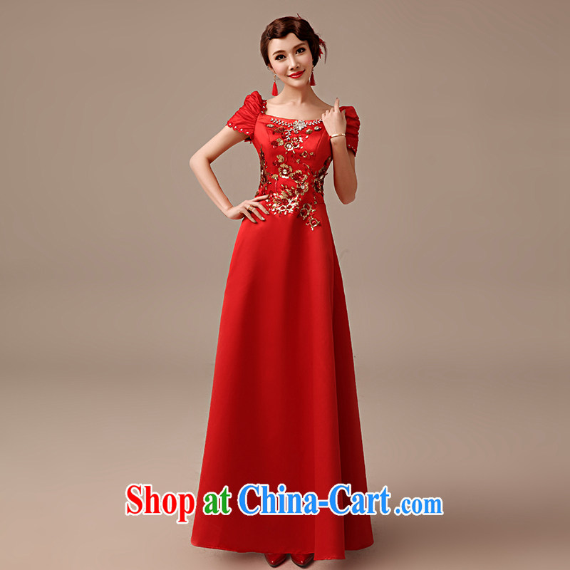 2015 new bridal red Satin bows dress long stylish improved decals embroidery beauty dresses Princess toast serving red tailored