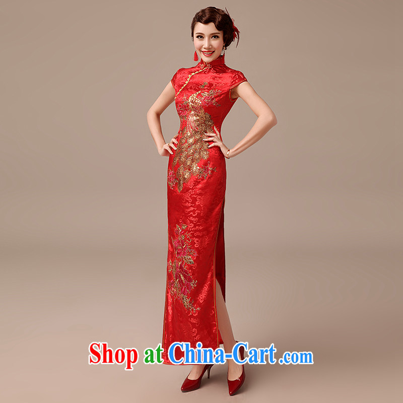 Dirty comics 2015 new marriages long serving toast cheongsam Chinese Antique large Code Red Beauty red outfit XL