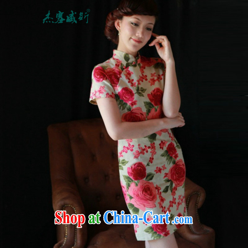 Jessup, new spring and summer clothes improved daily in Chinese, short-sleeved cotton the retro dresses dresses HR 262 No. 61 summer flowers cheongsam XL
