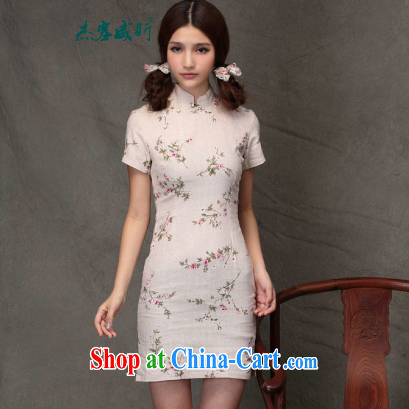 Jessup, new spring and summer women's clothing qipao improved Chinese short-sleeved cotton the retro cheongsam dress VG 822 late summer dresses XXL