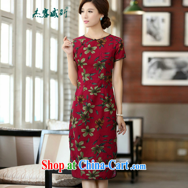Jack Plug, spring and summer, cotton the round-collar beauty stamp manual buckle long cheongsam dress dresses QF 624 buckwheat flowers round-collar XXL
