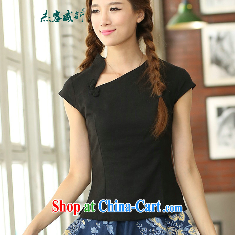 Jessup, new spring and summer hand-tie cotton the crescent moon short-sleeved qipao Chinese T-shirt shirt Chinese IX 385 black Crescent collar XXL