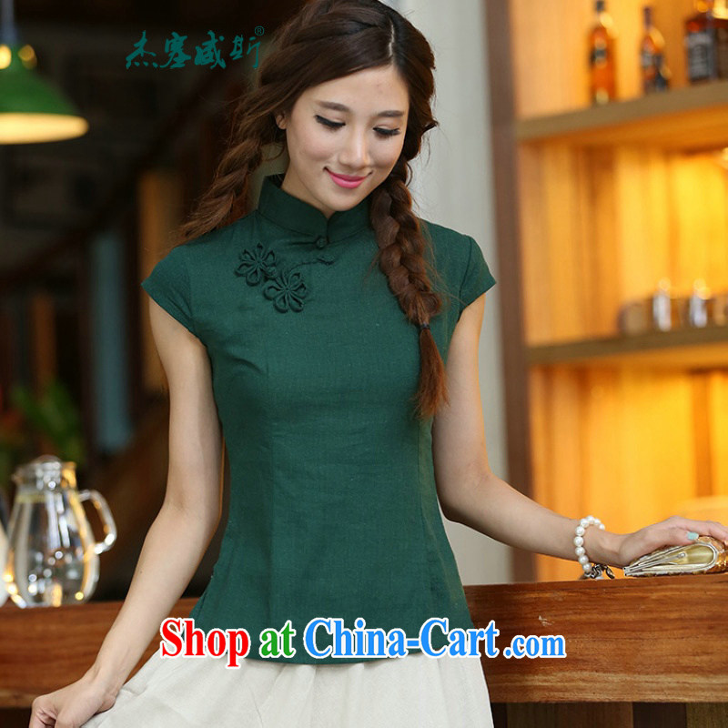 Jack Plug the new spring and summer classic retro cotton mA short-sleeve and collar manual tie dresses T-shirt Chinese shirt MU 473 dark green flower XXL