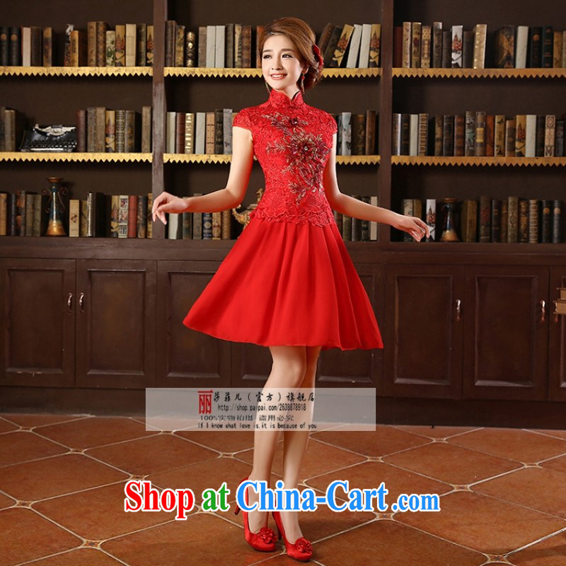 Chinese Modern and improved spring and summer retro bridal replacing long marriage, cheongsam dress red embroidery bows dress short XL can be returned.