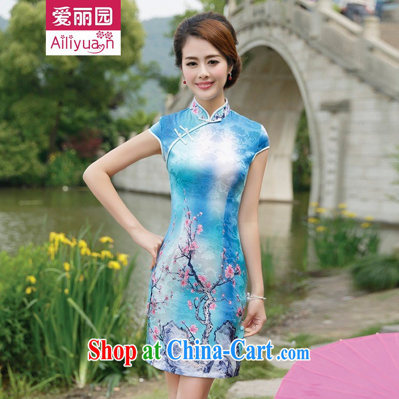 Alice Park 2015 summer new women's clothing dresses improved stylish elegant dress short, Retro daily cotton cheongsam dress 92 girls blue plum S recommended 95 Jack the following