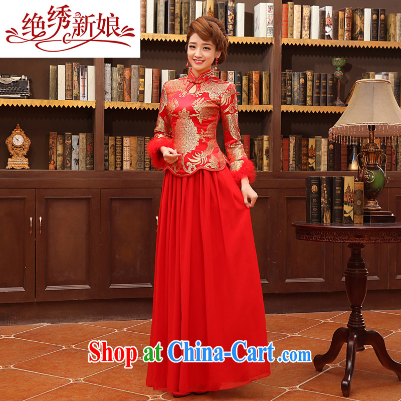 There is embroidery bridal 2014 winter new toast serving thick retro style long-sleeved Chinese qipao Q 5127 the cotton style XXL Suzhou shipping