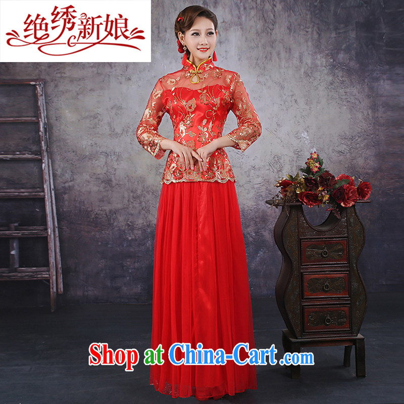 No bride embroidered Chinese style improved simplicity retro Red Beauty bridal marriage short-sleeved qipao QP - 347 red XXXXL Suzhou shipping