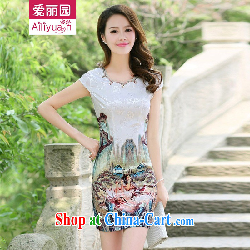 Alice Park 2015 summer new women's clothing dresses improved stylish elegant dress short, Retro daily cotton cheongsam dress 25 girls green 5 gold beauty figure M recommended 95 Jack the following