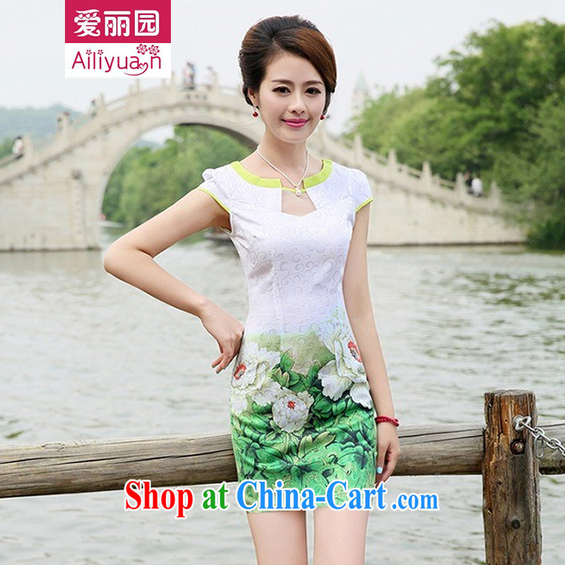Alice Park 2015 summer new women's clothing dresses improved stylish elegant dress short, Retro daily cotton cheongsam dress 87 girls Green Green peony flower XXL