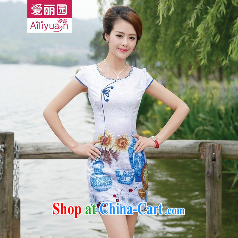 Alice Park 2015 summer new women's clothing dresses improved stylish short classic elegant retro daily cotton cheongsam dress 86 girls green flower vase M recommended 95 Jack the following