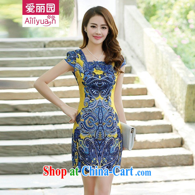 Alice Park 2015 summer new ladies dress improved elegant and stylish dress short retro daily cotton cheongsam dress 80 girls pink yellow M
